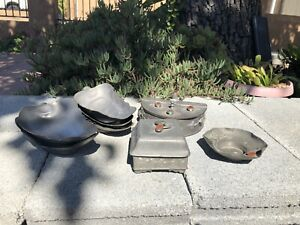 Chinese Antique pewter plate set