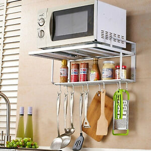 details about wall mount microwave oven rack bracket 2tier stand shelf storage cabinet kitchen