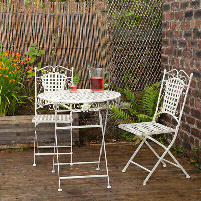 Metal Garden Bistro Set Patio Furniture Foldable Outside Table Chairs 3 Piece Ebay