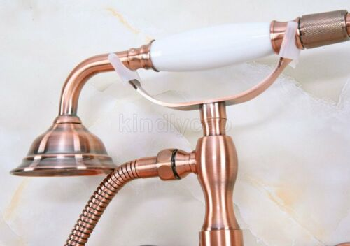 antique red copper clawfoot tub faucet dual handles w hand shower spray kna340 home garden faucets