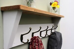 shabby chic coat rack with shelf solid