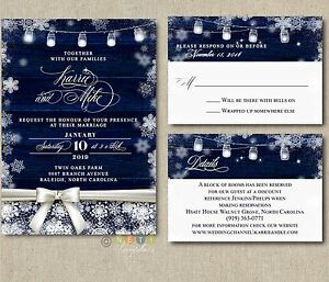 Details About 100 Personalized Rustic Winter Wedding Invitations Snowflake With Envelopes