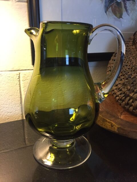 "ART GLASS Green Optic Footed 10 1/2"" PITCHER with Clear ..."