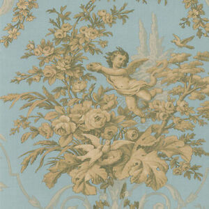 Floral and Cherub Gold & Blue Wallpaper CH28309 FREE ...