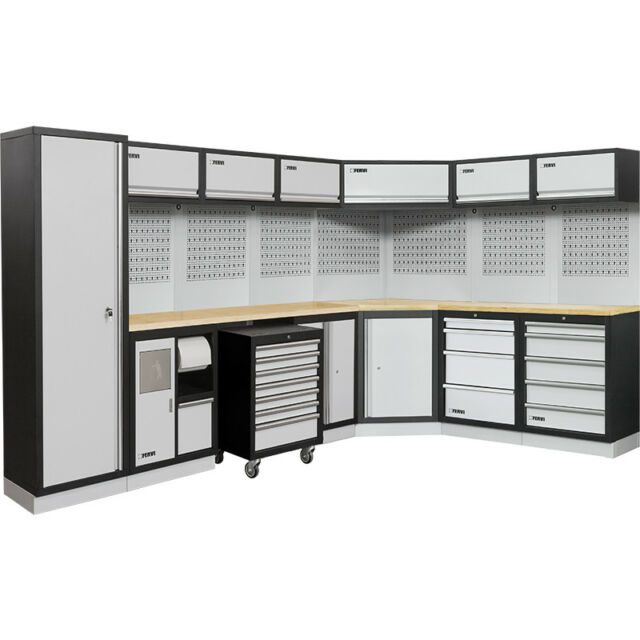 fervi mobilier d atelier modulaire d angle gris a007h