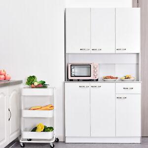Homcom Kitchen Pantry Cupboard Wooden Storage Cabinet Organizer Shelf White Ebay