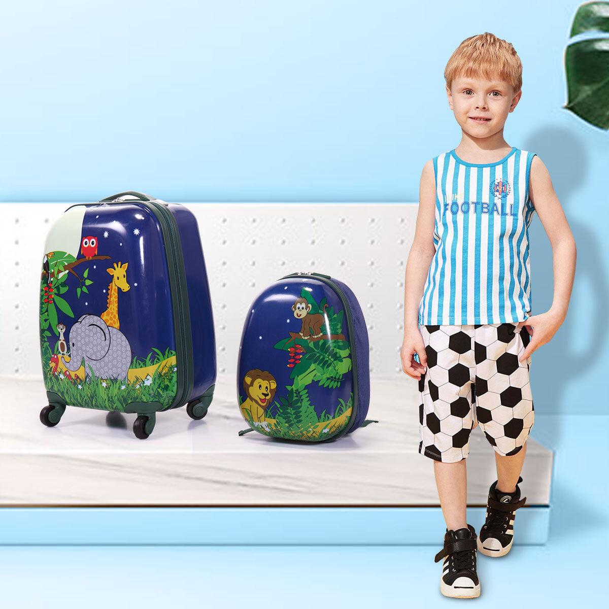 Kids Carry On Luggage 2Pc Set 12″ 16″ Upright Hard Side Hardcase Suitcase