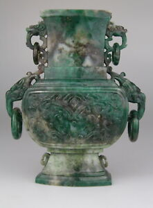 Antique Chinese Carved Spinach Green Jade Vase Handles Dragon 19th Qing