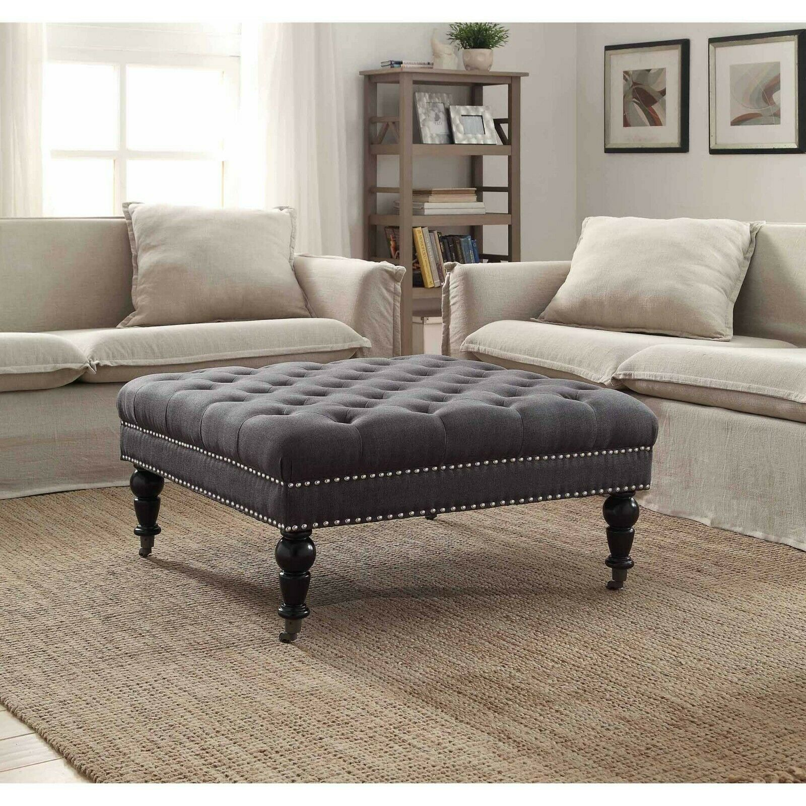 square coffee table ottoman w wheels tufted linen upholstered oversized gray new