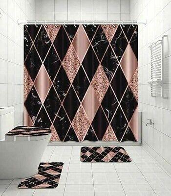 black pink diamond pattern bathroom shower curtain toilet seat cover rug set ebay
