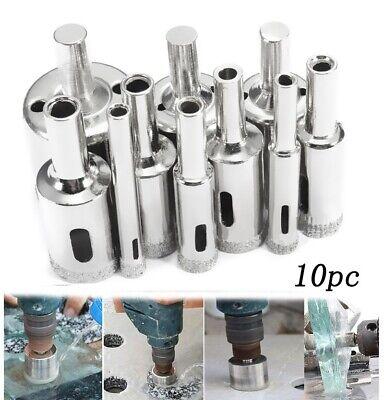 10pc diamond hole saw kit 6 30mm grit drill bits set for glass ceramic tile ebay