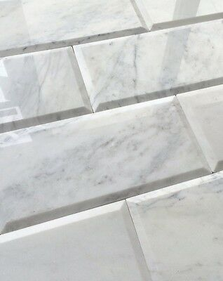 carrara white 6x12 polished beveled marble tile wall backsplash kitchen bath ebay