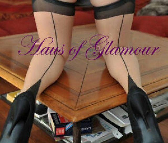 Image Is Loading Real Raised Seam Vintage Style Seamed Stockings Contrast