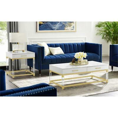 posh briar 2 drawer metal coffee table with acrylic legs in white gold ebay