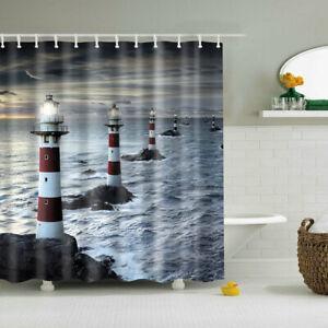 details about shower curtain decor set nautical lighthouse reef waterscape print bath curtains