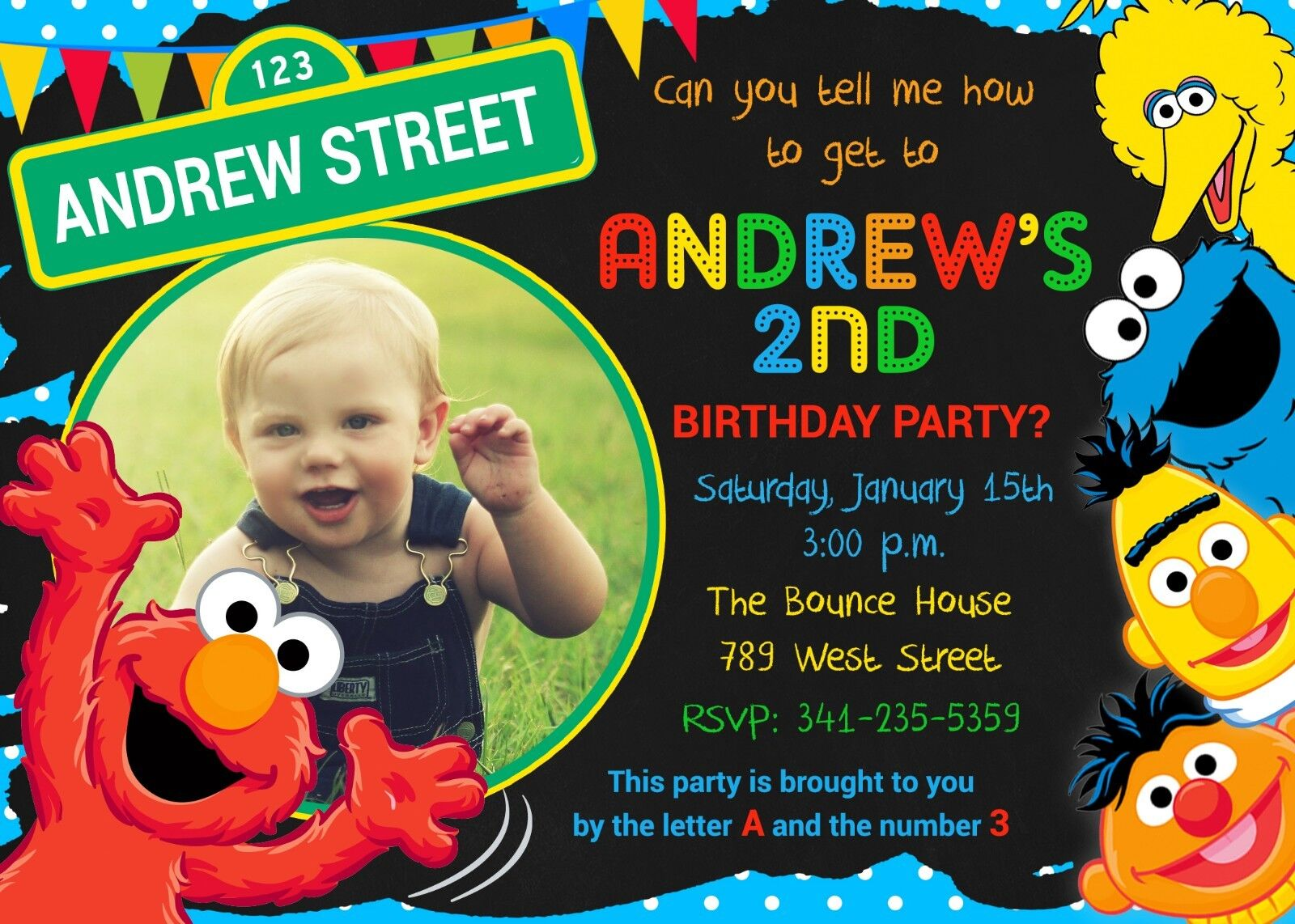 sesame street invitation elmo cookie monster birthday party invitation