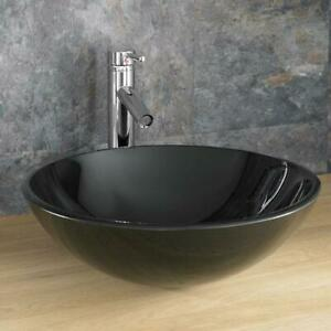 details about black glass basin bathroom round countertop 310mm sink bathroom bowl counter top