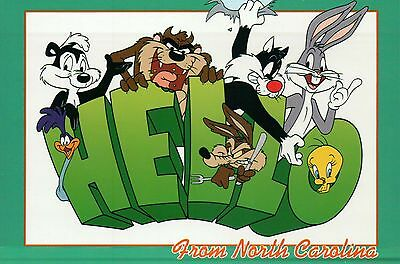 Hello From North Carolina Bugs Bunny Sylvester Tweety Bird Looney Tunes Postcard Ebay