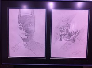GREG LAND ORIGINAL BATMAN & NIGHTWING COMIC ART SKETCH SET OF TWO! FRAMED!