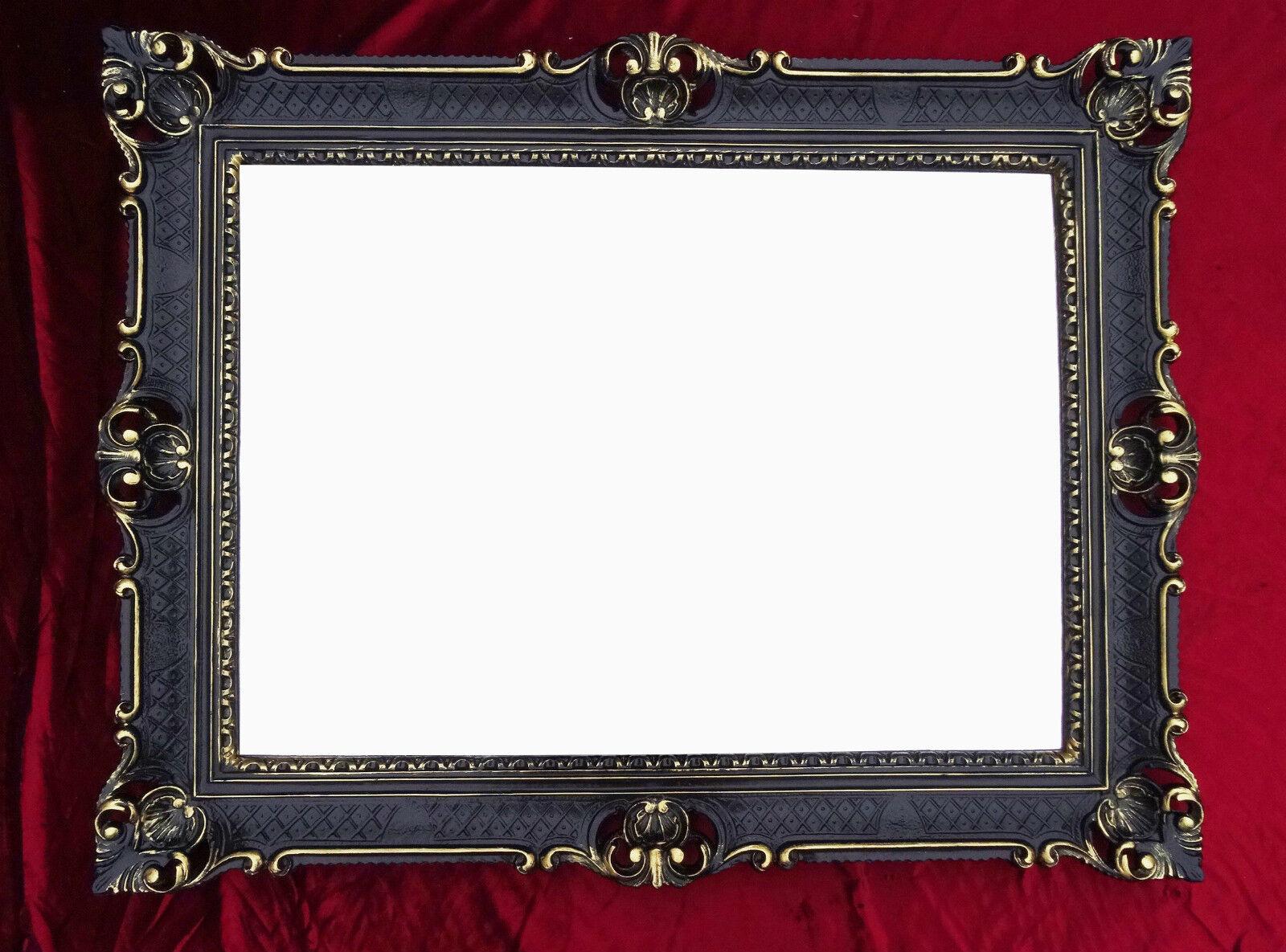 WALL MIRROR BLACK GOLD ANTIQUE BAROQUE ROCOCO 90x70 FRAME