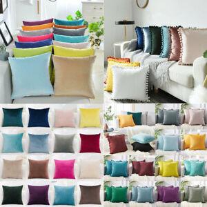details about 16 18 20 22 24 velvet plain cushion covers pillow cases home sofa decor uk