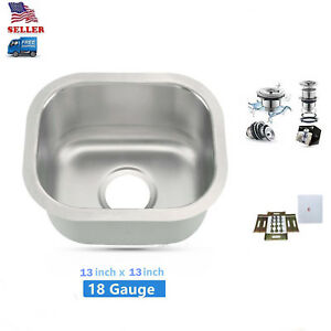 details about 13 x13 undermount small bowl kitchen bar prep sink stainless steel new