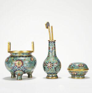 Antique Chinese Gilt Bronze Cloisonne Bottle Box Incense Burner Set
