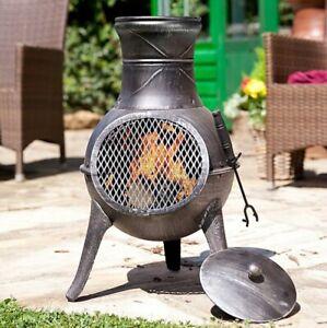 details about la hacienda panama chimenea log burner garden patio heater fire pit chiminea