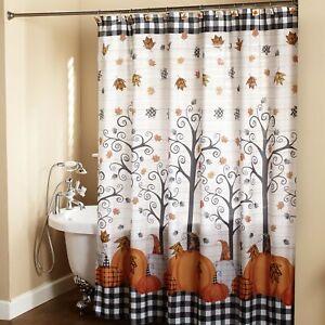 details about plaid pumpkin bathroom shower curtain with floral autumn accents