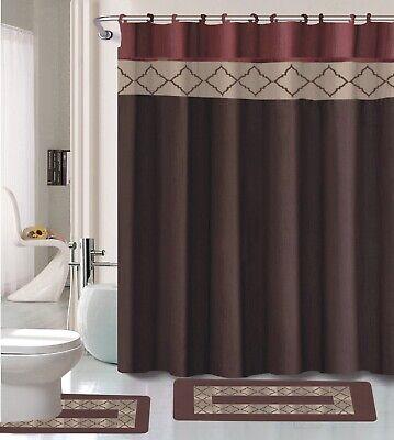 dynasty burgundy brown 15 pc bathroom accessory set 2 bath mats shower curtain ebay