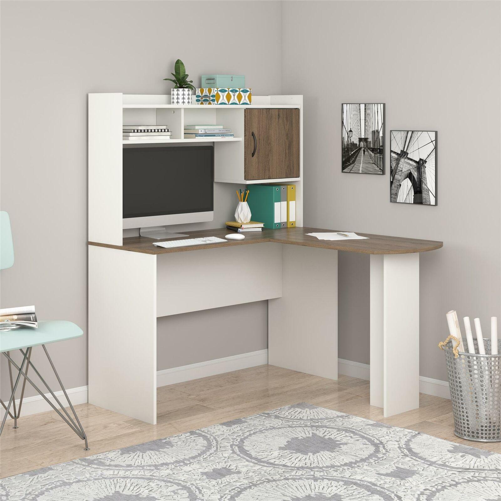 Home Office Desks Aleko Cd03bk Contemporary Swivel Corner L Shaped Dark Brown For Sale Online Ebay