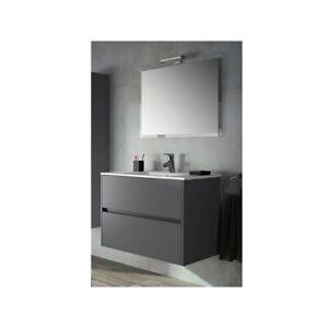 details sur meuble de salle de bain toilette 100 cm suspendu avec evier lavabo vasque gris