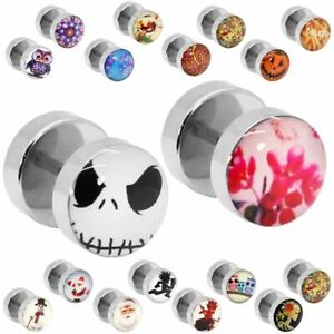 Ohrstecker Fakeplugs Fake Plug Tunnel Ohr Piercing Motive Eis Frost Eule Blume