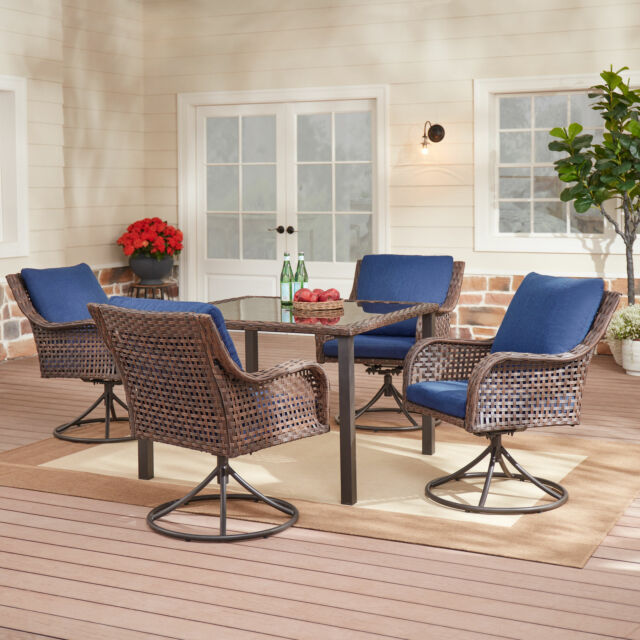 patio furniture set 5 piece table and 4 swivel chairs outdoor wicker dining set