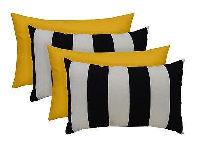 set of 4 outdoor black white stripe and yellow rectangle lumbar pillows ebay