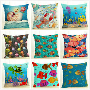 details about 18 sea theme fish pillow covers nautical throw pillowcases beach cushion covers