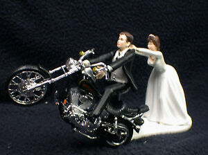 Motorcycle Wedding Cake Topper W  Black Harley Davidson Funny Brown     Image is loading Motorcycle Wedding Cake Topper W Black Harley Davidson
