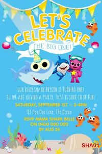 details about personalised baby shark birthday invitation do dodododododod