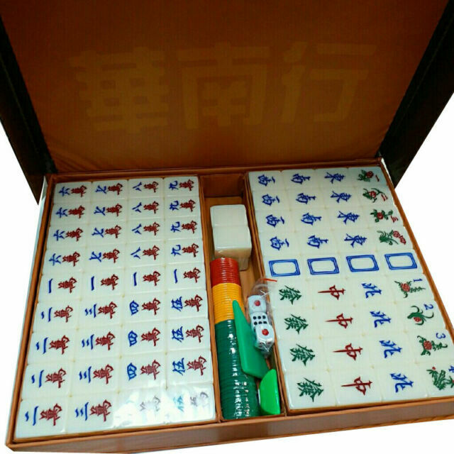 mahjong game tile set vintage deluxe chinese professional standard ma jiang red