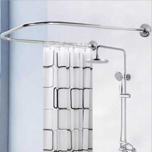details about extendable shower curtain rail rod u shaped curved pole 71x79 shower curtain