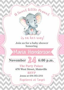 Details About Elephant Baby Shower Invitation