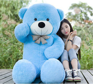 09037f3c65c Giant 63 160cm Teddy Bear Blue Soft Stuffed Big Plush Toy Bowtie
