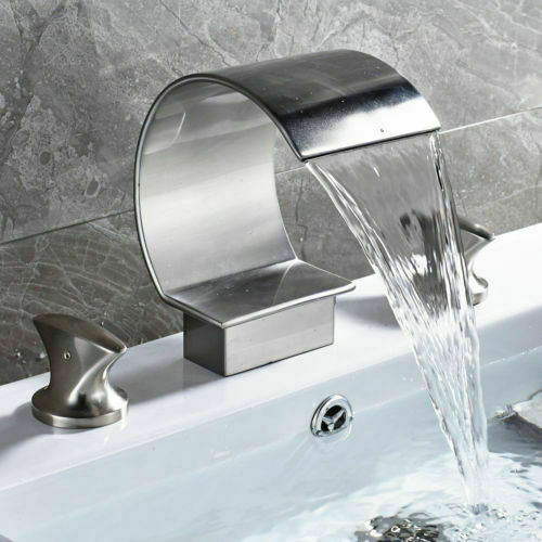 led waterfall bathroom faucet widespread sink tub mixer tap brushed nickel deck for sale online ebay