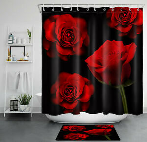 details about valentine s day red rose black background shower curtain sets for bathroom decor