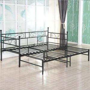 details sur canape lit double en metal noir options avec lit gigogne lit de repos avec lit