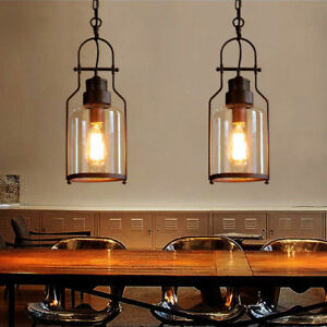 Industrial Clear Glass Metal Lantern Kitchen Island Ceiling Pendant Lights Lamp Ebay