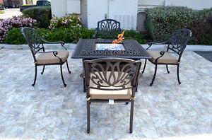 details about patio conversation set cast aluminum furniture propane fire pit table 5 pc