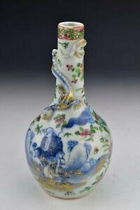 Chinese Famille Rose Porcelain Vase 19th Century Underglaze Blue Character Scene