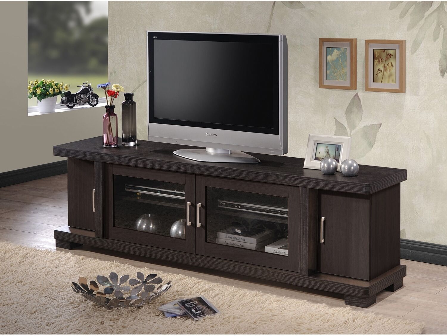 Wood TV Console 70-Inch Stand Contemporary Entertainment