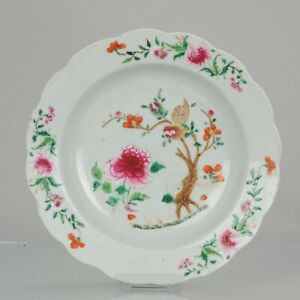 Antique Chinese 18C Qianlong Unusual Famille Rose Plate Tree Enamel [:...